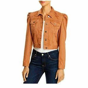Blank NYC Distressed Puffed Sleeve Cropped Jacket
